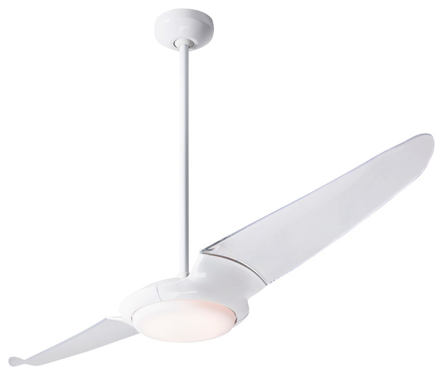 "Ic/air 2 Blade 20w Led Fan, Gloss White, 56"" Clear Blades."