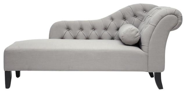 Baxton Studio Aphrodite Tufted Putty Linen Modern Chaise Lounge, Gray.