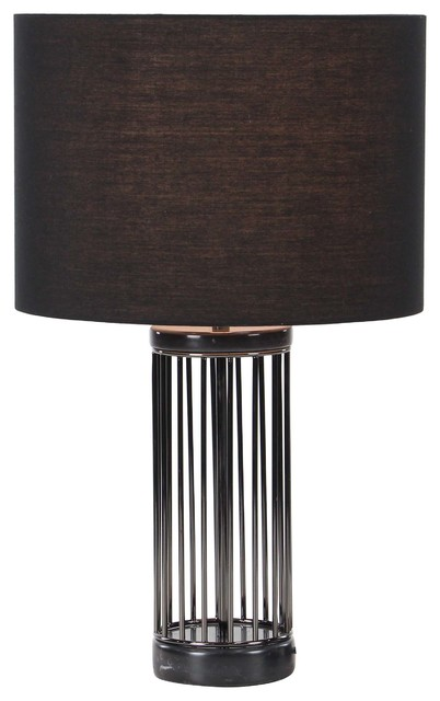 Contemporary Iron And Marble Cage Design Table Lamp, Black.