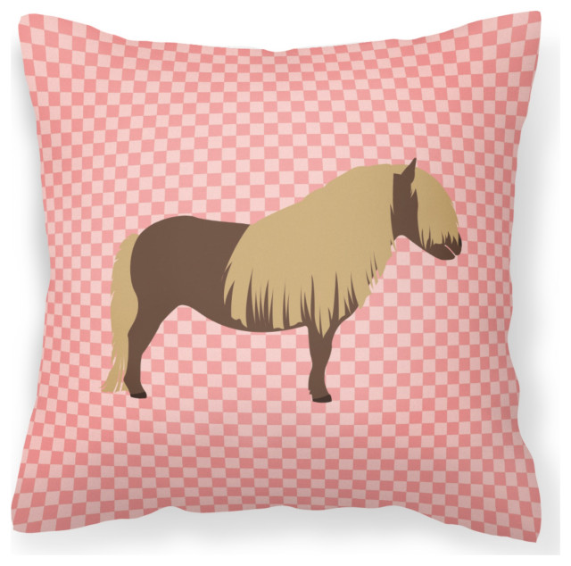 Shetland Pony Horse Pink Check Outdoor Canvas Decorative Pillow 18 X18 Contemporary Outdoor Cushions And Pillows By The Store
