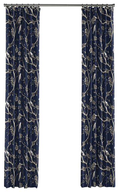 Curtains Ideas chinoiserie curtains : Navy Blue Chinoiserie Curtain, Single Panel, Ring Top - Asian ...