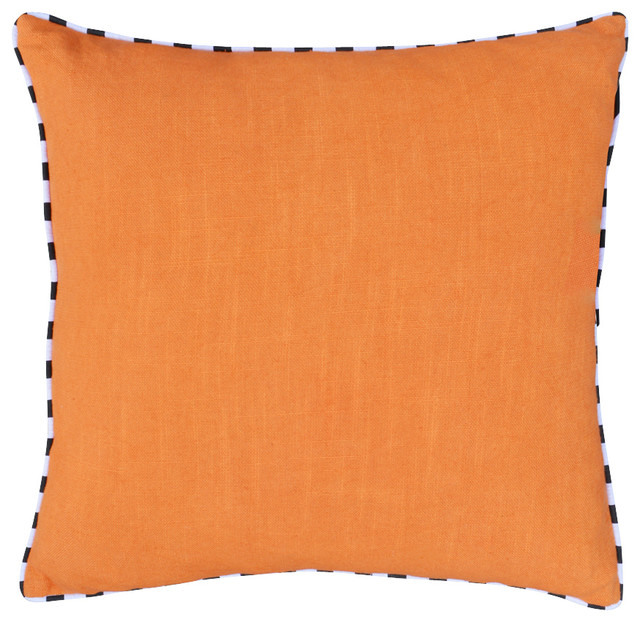 Black Cotton Throw Pillows : A1 Home Collections - Cotton Throw Pillows with Black and White Piping & Reviews Houzz