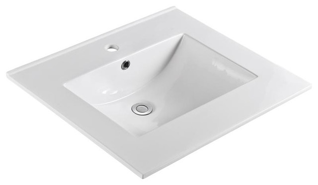 """Unique 25""""x22"""" Ceramic Vanity Top, White With Single-Hole Drilling."""