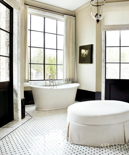 Black and White Bathroom in Atlanta Homes. traditional