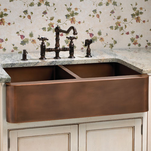 Aberdeen Smooth Double Well Farmhouse Copper Sink Traditional Kitchen Sin