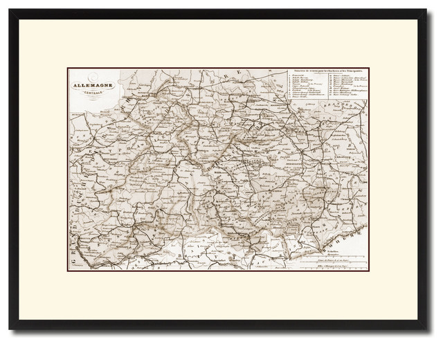 Map Of Central Germany.Central Germany Vintage Sepia Map Canvas Print 16 X21