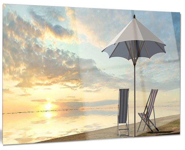 Metal Umbrella Wall Decor : Quot deck chairs and umbrella on beach metal wall art