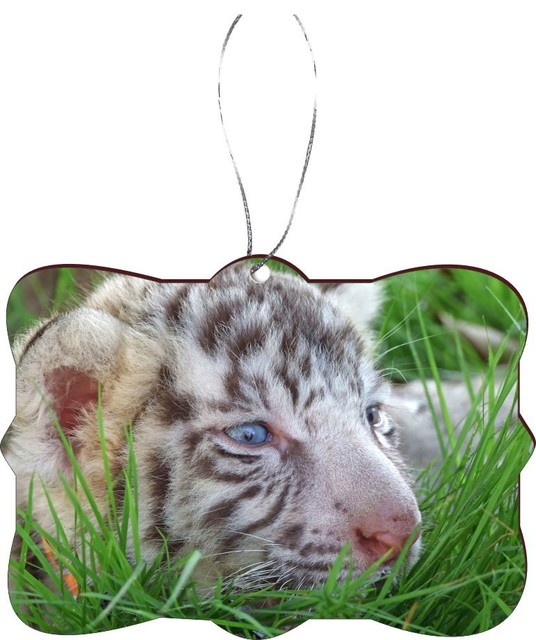 baby white tiger bright blue eyes design rectangle christmas tree