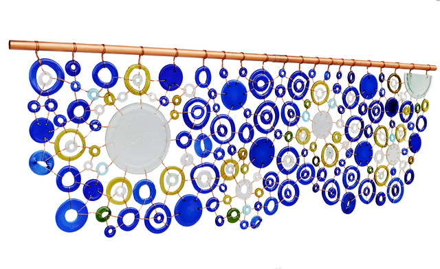 Wall Hanging, Kiln Fired Recycled Glass and Copper