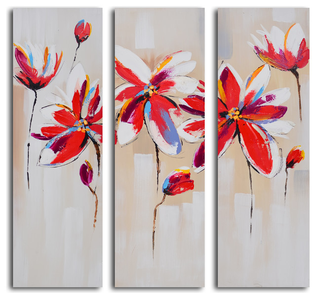 """3 Piece Canvas Wall Art Sets dalliance of red florals"""" hand-painted 3-piece canvas set"""