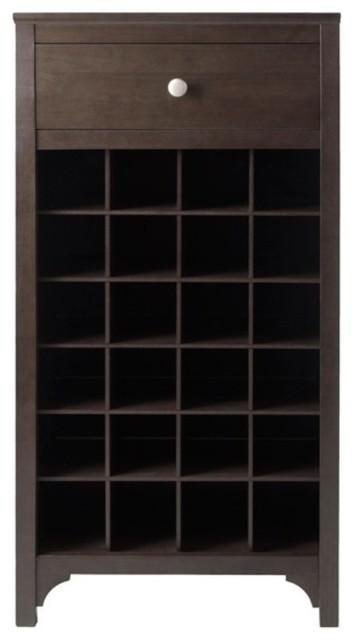 Bar Cabinet 24-Bottle Espresso Wood Drawer 19.09 in W x 12.60 in D x 37.52 in.