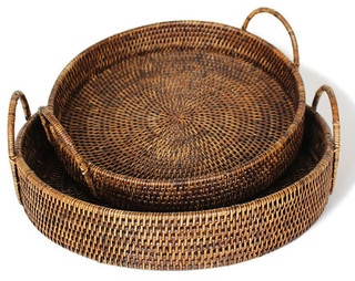 Matahari Rattan Round Tray With Handles Set Of 2 View In Your Room Houzz