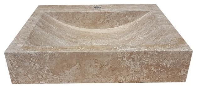 Rectangular Natural Stone Vessel Sink Noce Travertine Traditional Bathroom Sinks