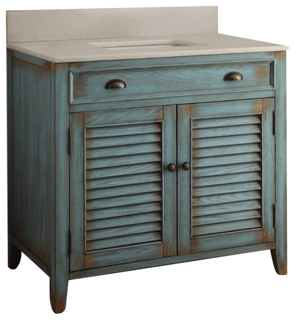 "abbeville vanity, blue, 36"" - beach style - bathroom vanities and"