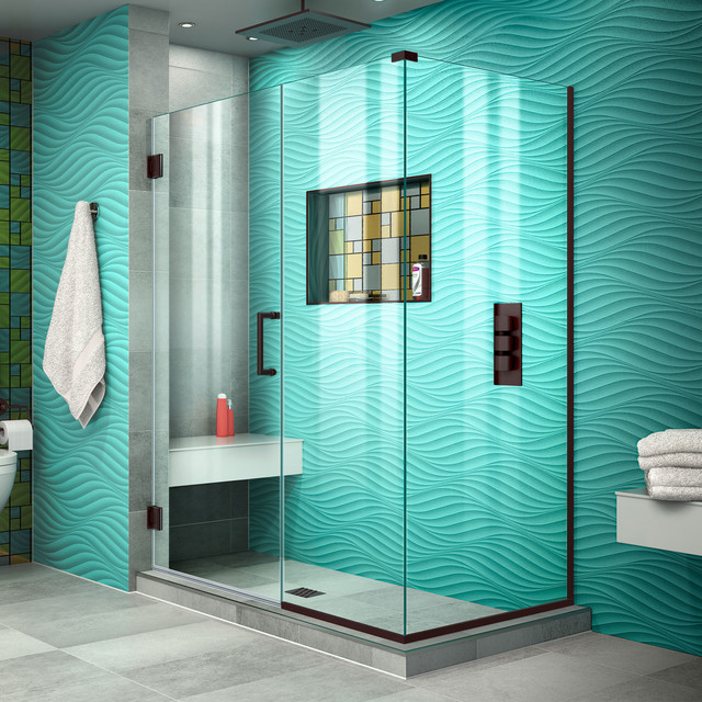 Unidoor Plus Frameless Hinged Shower Enclosure, Clear Glass, Oil Rubbed Bronze by DreamLine