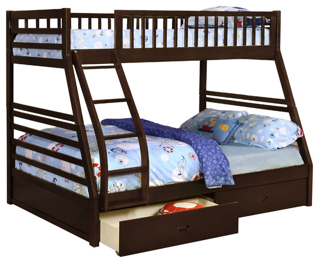 Twin Over Full Size Convertible Wood Bunk Bed Walnut