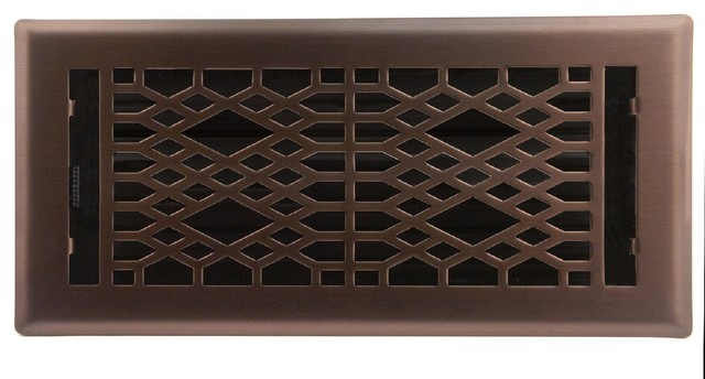 "Light Oil-Rubbed Bronze Cathedral Floor Register, 4""x10""."