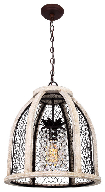 Scroll Distressed Pendant Light Ivory Farmhouse