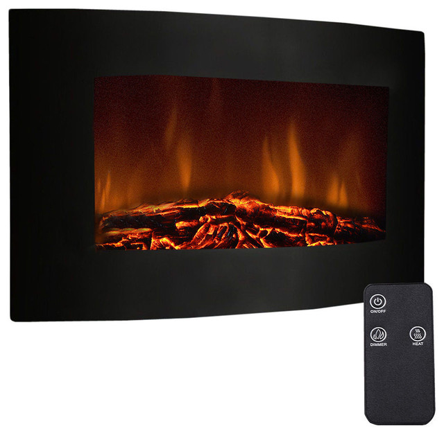 "Fireplace Heater With Remote 1500w Adjustable Electric Wall Mount, 35""."