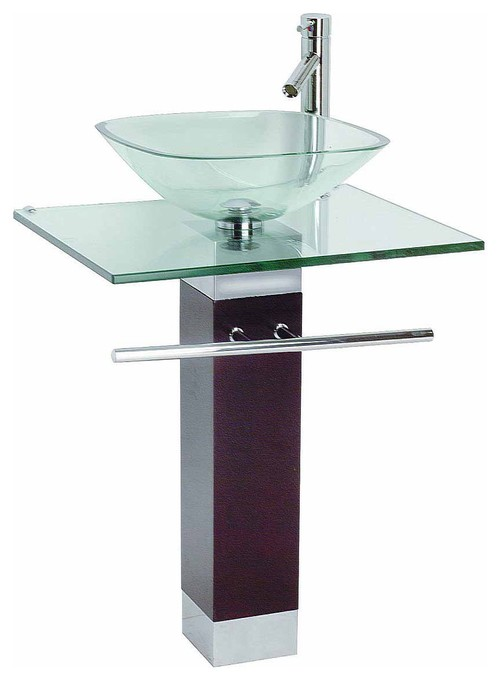 Tempered Glass Faucet Pedestal Sink and Drain Combo, 23""