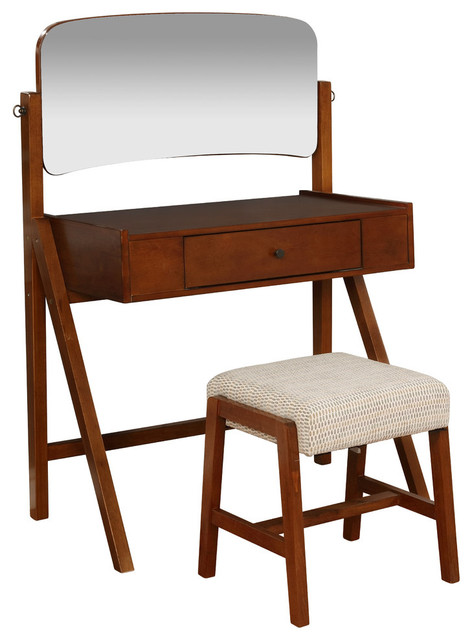 Wood and Veneer and Foam and Fabric Makeup Vanity With Stool, Walnut