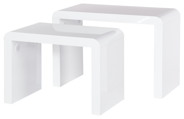 Prana, Side Table Set Of 2, White High Gloss, Round Edges Modern