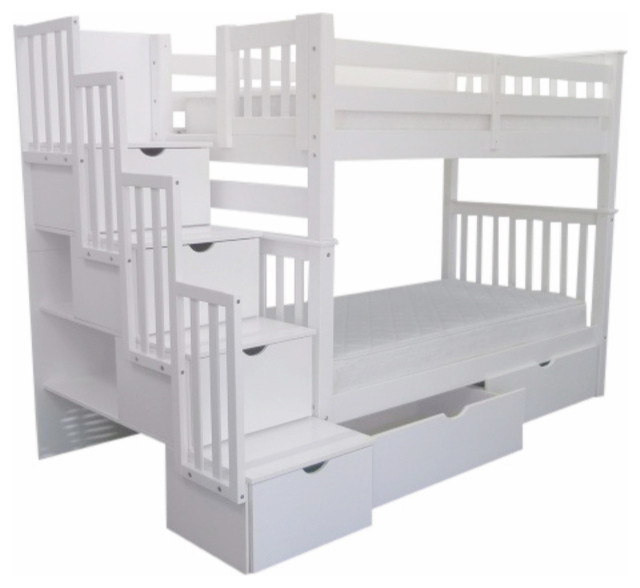 Bunk Beds Tall Twin Over Stairway White And 2 Extra Drawers Transitional