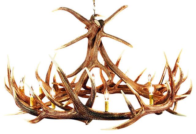 faux rustic elk 9 antler chandelier 12 candle lights - Antler Chandelier