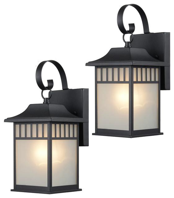 Black Outdoor Patio Exterior Light Fixtures, Set Of 2, 22-9517.