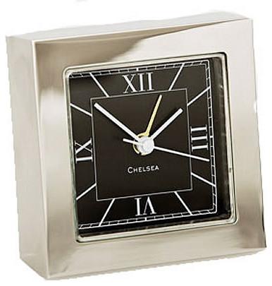 Chelsea Square Desk Alarm Clock In Nickel