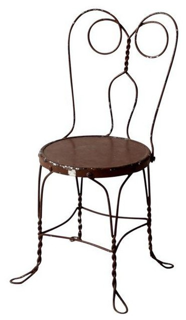 Consigned, Vintage Ice Cream Parlor Chair, Brown Metal Cafe Chair