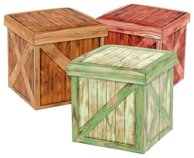 Vintique Folding Storage Ottoman - Wooden Crate Design Set Of - 3  craftsman-footstools- - Vintique Folding Storage Ottoman - Wooden Crate Design Set Of - 3