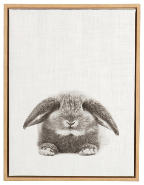 Designovation Rabbit Black And White Portrait Natural Framed Canvas Wall Art.
