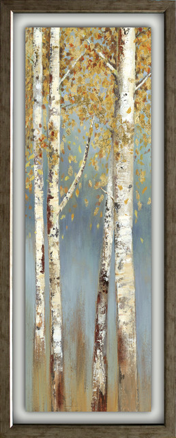 """butterscotch Birch Trees I"" Artwork By Allison Pearce, Antique Silver, 15""x39""."