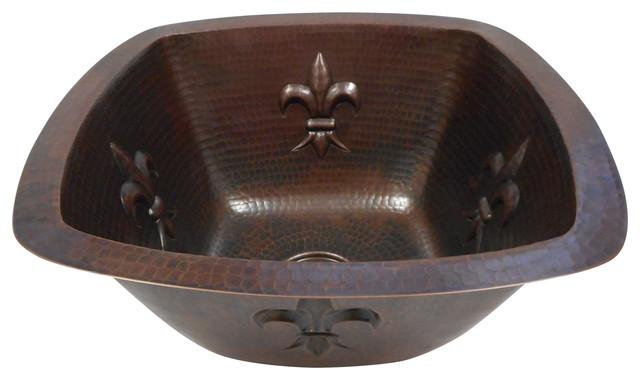 """15"""" Square Copper Kitchen Bar Prep Sink With Fleur De Lis Motif Dual Mount."""