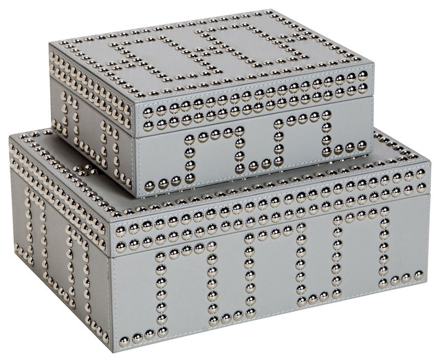Decorative Boxes Enchanting Cade Modern Classic Gray Stud Leather Boxes Set Of 2 & Reviews Inspiration Design