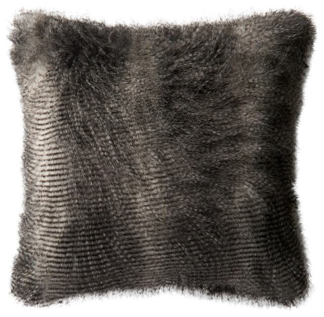"Loloi 22"" Square Contemporary Down Pillow, Black And Gray."