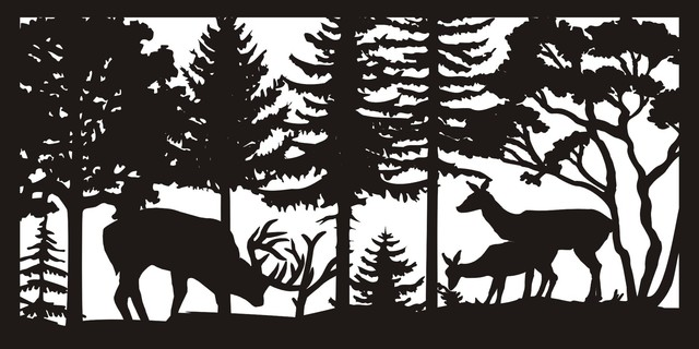 """Buck And Two Does Panel, 30""""x60""""."""