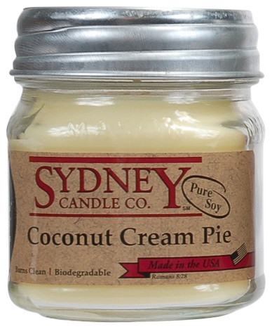 Coconut Cream Pie 8oz Mason Jar Pure Soy Candle traditional-candles