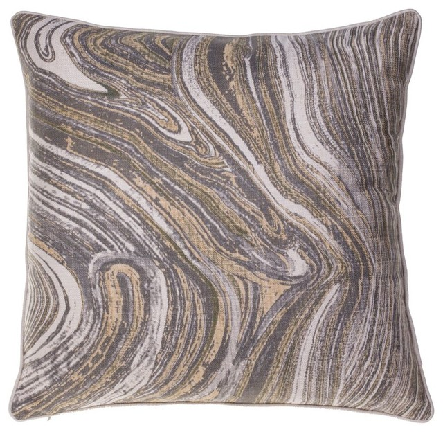 Watercolor Marble Pillow, Curry, Iron, Moss.