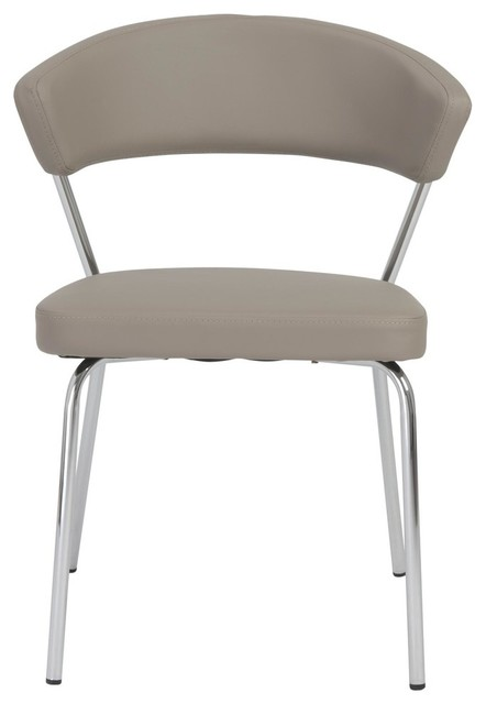 Draco Dining Chair, Taupe With Chrome Legs , Set Of 2.