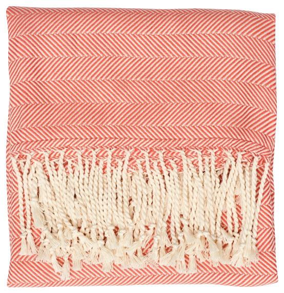 Cotton Herringbone Throw Blanket, Peach.
