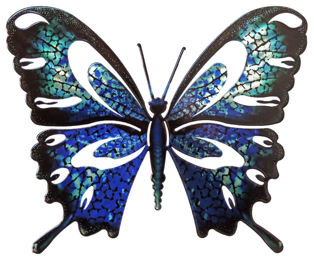 Wall Art Large Butterfly Blue Black Contemporary Metal