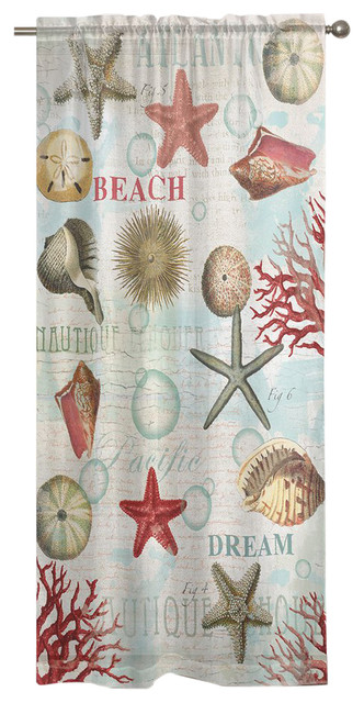 Laural Home Dream Beach Shells Window Curtain.
