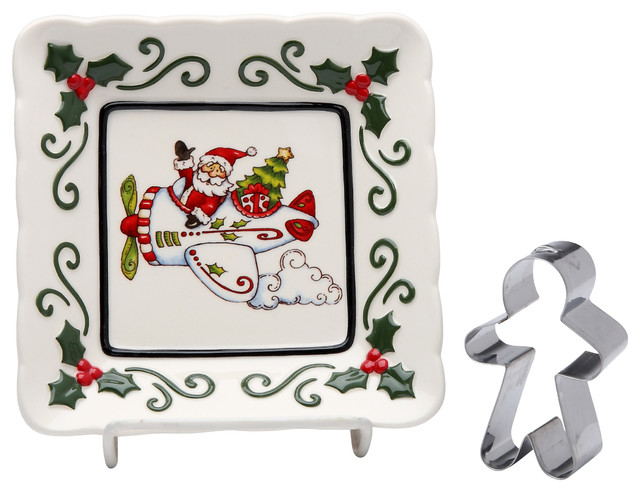 Santa In Plane Plate With Gingerbread Cookie Cutter.