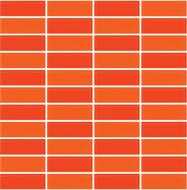 12 X12 Bright Orange Frosted And Glossy Gl Tiles