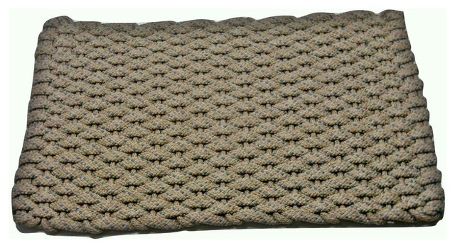 "20""x34"" Rockport Rope Mat, Tan With 2 Light Blue Specs And Tan Insert."