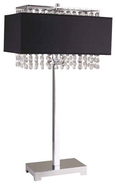 Shannon Crystal 27.5u0027u0027 Table Lamp With Fabric Light Diffusing Shade, Black  Contemporary