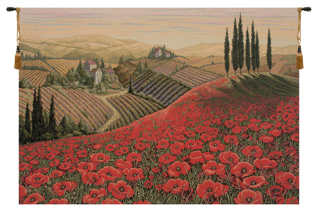 Tuscan Poppy Landscape Italian Wall Hanging Tapestry Farmhouse Tapestries By European Wall Art Houzz