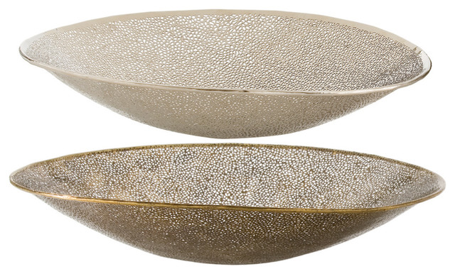 Contemporary Decorative Bowls Extraordinary Bombay Modern Antique Brass Polished Silver Bowls Set Of 2 Design Ideas